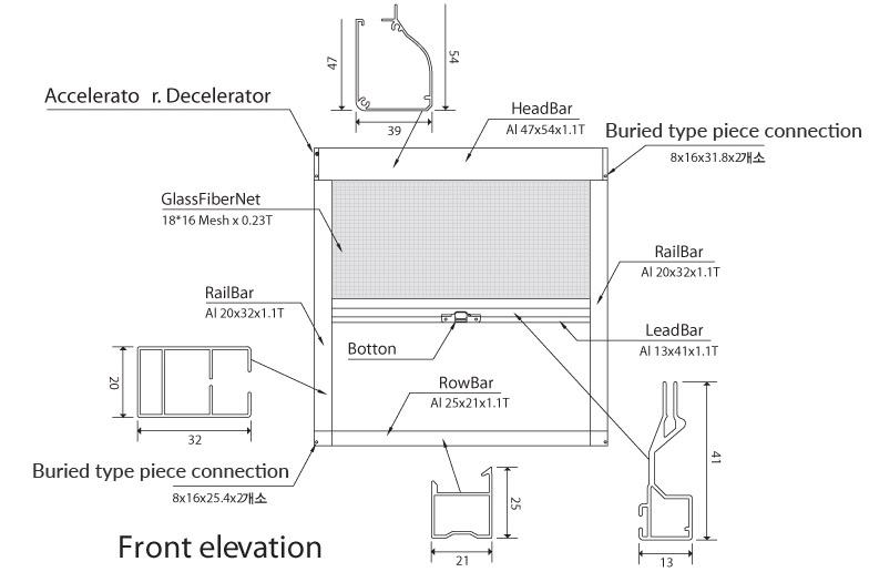 Retractable Fly Screens Elevation